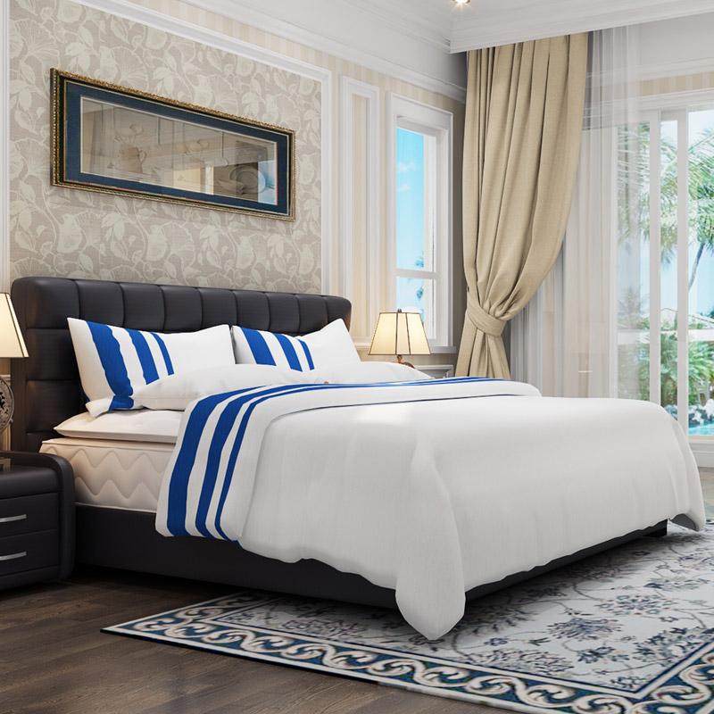 美国金可儿双人床+繁星A床垫+真皮床1.8 组合软床卧室